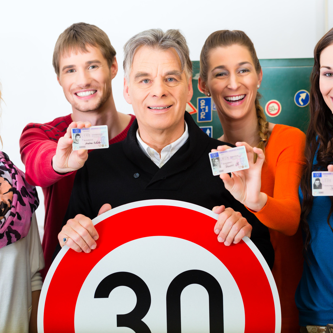 Driving school - driving instructor and student drivers
